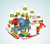 Cheerful Sporty Group of Skiers Snowboarders and Winter Trees Cartoon