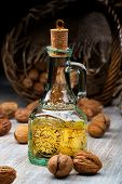 walnut oil in a glass bottle