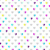 Vector seamless pattern. Modern style. Multicolored hearts