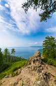 Scenic sunny day landscape at the Baikal lake