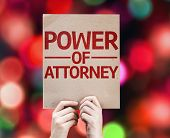 Power of Attorney card with colorful background with defocused lights