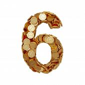 Alphabet Number Digit Six 6 With Golden Coins Isolated On White Background