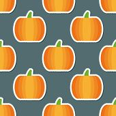 Pumpkin Pattern. Seamless Texture With Ripe Pumpkins