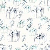 Gift Boxes With Canducane Outline Seamless Pattern