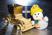 Snowman And Wooden Car With Gift Boxes