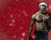 Bad Santa Fantasy On Snowy Red Background