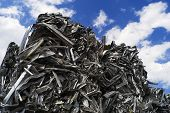 foto of reprocess  - Aluminum scrap bales are stacked sky high - JPG