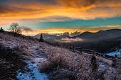 Fantastic Winter Landscape. Dramatic Overcast Sky.