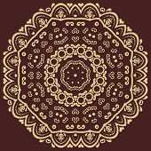 Brown and gold Damask Vector Pattern. Orient Background