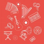 Musical Instruments Icons White Outline