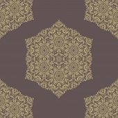 Brown Damask Seamless Vector Pattern. Orient Background