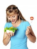 Happy Young Woman Eating Salad.