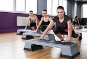 pic of step aerobics  - Fitness sport training gym and lifestyle concept - JPG