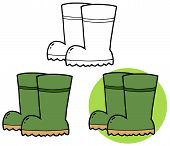 Gardening Tool-Pair Of Green Gardening Rubber Boots. Collection Set
