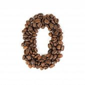 The Number Zero From Roasted Coffee Beans.white Background.