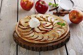 stock photo of cream puff  - Open apple pie puff pastry with ice cream - JPG
