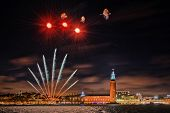 Stockholm With A Clear Sky With Stars An Fireworks