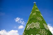Giant Christmas Tree Decorated With Blue Sky Backgrounds