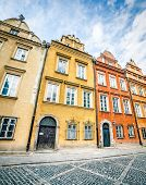 colorful houses in the historic center of Warsaw, near the Castle Square