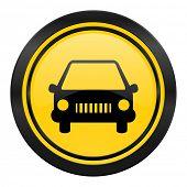 car icon, yellow logo, auto sign