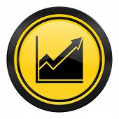 histogram icon, yellow logo, stock sign