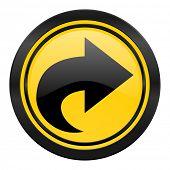 next icon, yellow logo, arrow sign