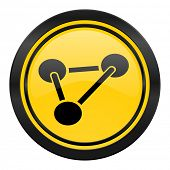 chemistry icon, yellow logo, molecule sign