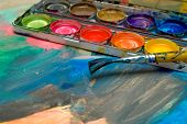 Abstract Child Art And Watercolor Palette
