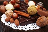 picture of bitters  - Bars of white and bitter chocolates with candies - JPG