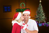 Young festive couple against orange background with vignette