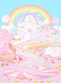 Illustration pastel colored a fairy kingdom