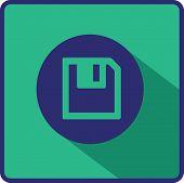 Floppy disk download. Flat modern web button.