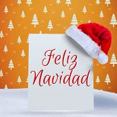 Feliz navidad against orange tree pattern