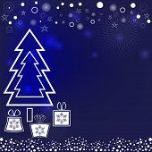 New Year vector background with Christmas tree and present boxes.