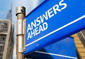 Answers Ahead blue road sign