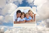 Merry family having fun in the bedroom against blue sky with white clouds
