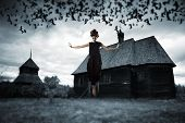 pic of horror  - Witch floating in the air - JPG
