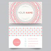 Business card template, blue, white and pink beauty fashion pattern vector design