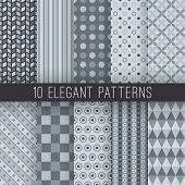 Grey elegant seamless patterns. Vector illustration