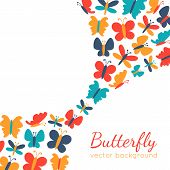 Retro background of colorful butterfly silhouettes