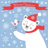 Christmas card with white bear and bird