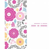 Vector vibrant floral scaterred vertical frame seamless pattern background