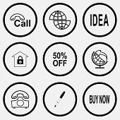 Business set. Black and white set vector icons.