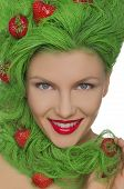 Woman With Green Hair And Strawberries On Them