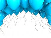 Blue party balloons on white background