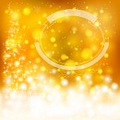 Golden Festive Christmas Background With Snowflakes And Sparkling Lights, Create By Vector