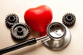 Mechanical Ratchets, Stethoscope And Red Heart