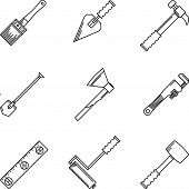 Contour vector icons for hand tools