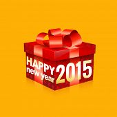happy new year 2015 written on red gift box