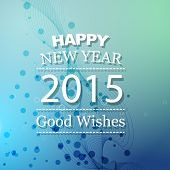 vector illustration of new year card with circles at the back on blue background